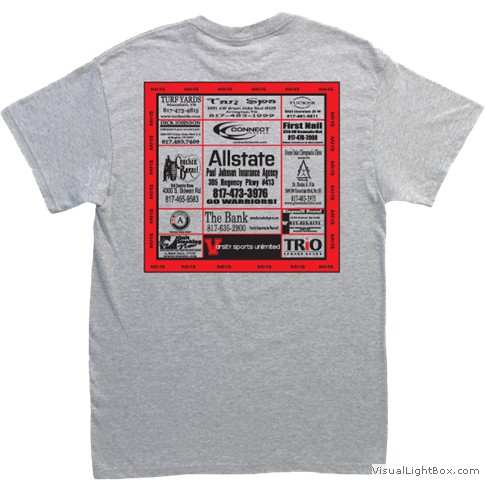Advertise your business on our rally towels varsity for T shirt advertising business